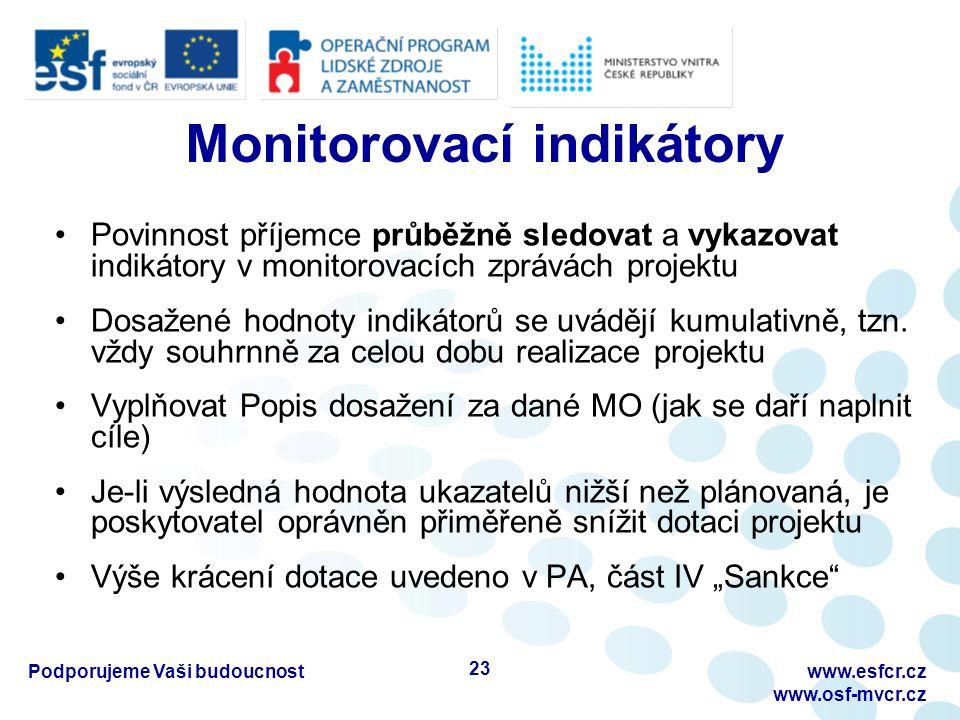 Monitorovací indikátory Povinnost příjemce průběžně sledovat a vykazovat indikátory v monitorovacích zprávách projektu Dosažené hodnoty indikátorů se