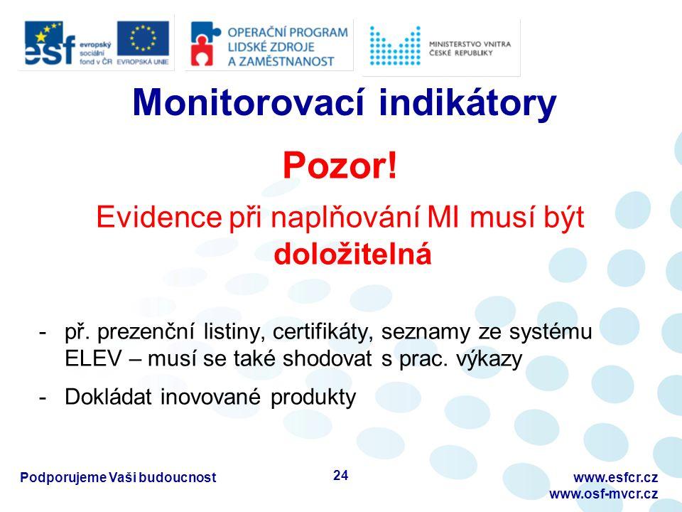 Monitorovací indikátory Pozor! Evidence při naplňování MI musí být doložitelná -př. prezenční listiny, certifikáty, seznamy ze systému ELEV – musí se