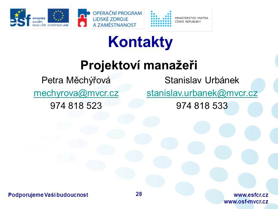 Kontakty Podporujeme Vaši budoucnostwww.esfcr.cz www.osf-mvcr.cz Projektoví manažeři Petra Měchýřová mechyrova@mvcr.cz 974 818 523 Stanislav Urbánek s