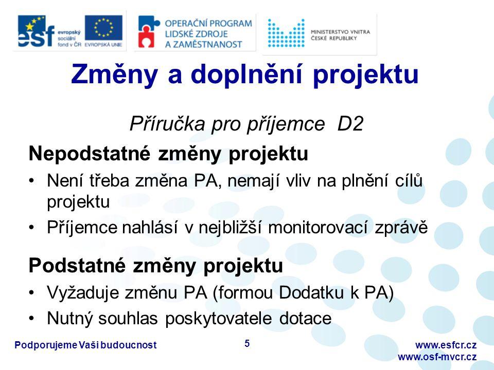 Změny a doplnění projektu Příručka pro příjemce D2 Nepodstatné změny projektu Není třeba změna PA, nemají vliv na plnění cílů projektu Příjemce nahlás