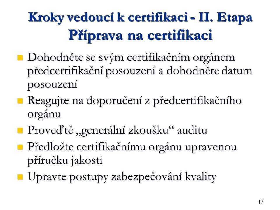 17 Kroky vedoucí k certifikaci - II.