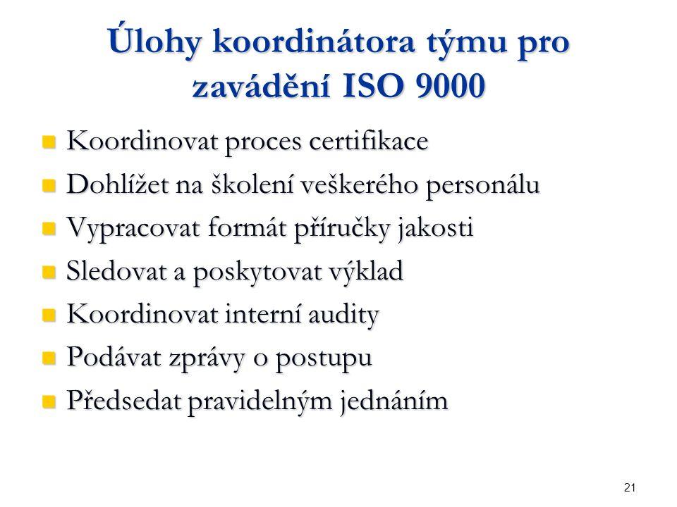 21 Úlohy koordinátora týmu pro zavádění ISO 9000 Koordinovat proces certifikace Koordinovat proces certifikace Dohlížet na školení veškerého personálu Dohlížet na školení veškerého personálu Vypracovat formát příručky jakosti Vypracovat formát příručky jakosti Sledovat a poskytovat výklad Sledovat a poskytovat výklad Koordinovat interní audity Koordinovat interní audity Podávat zprávy o postupu Podávat zprávy o postupu Předsedat pravidelným jednáním Předsedat pravidelným jednáním