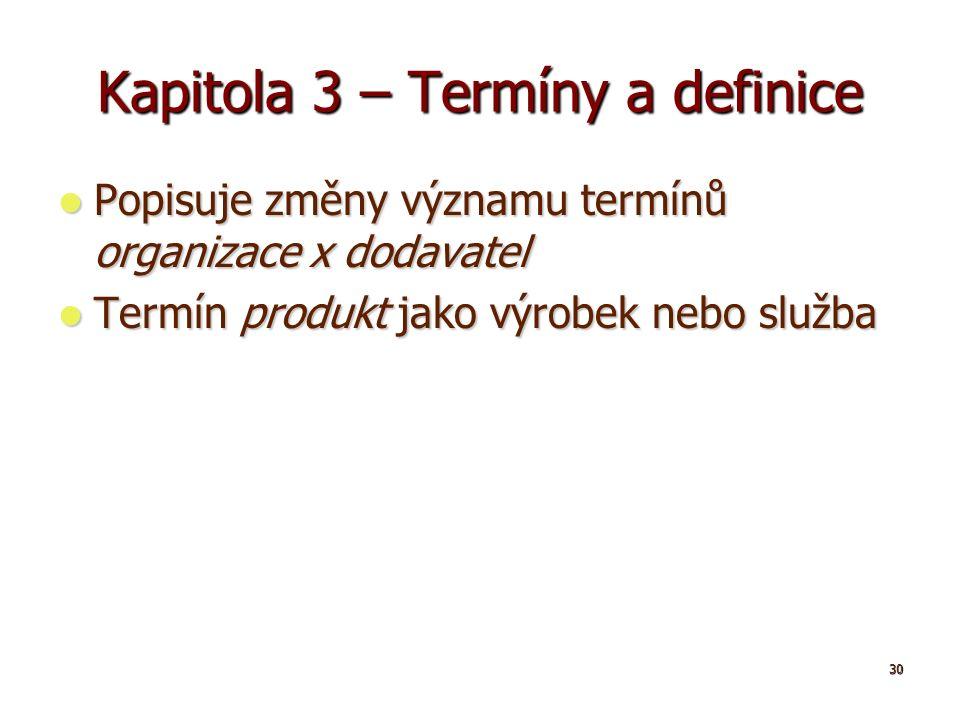 30 Kapitola 3 – Termíny a definice Popisuje změny významu termínů organizace x dodavatel Popisuje změny významu termínů organizace x dodavatel Termín produkt jako výrobek nebo služba Termín produkt jako výrobek nebo služba