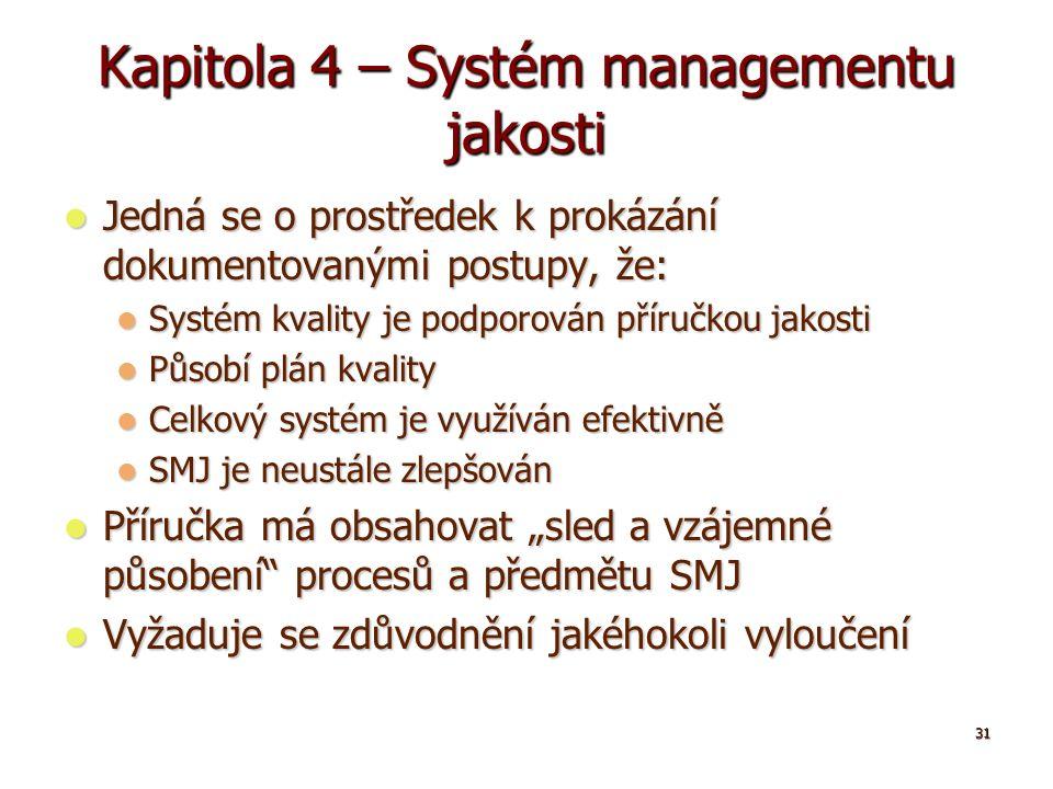 """31 Kapitola 4 – Systém managementu jakosti Jedná se o prostředek k prokázání dokumentovanými postupy, že: Jedná se o prostředek k prokázání dokumentovanými postupy, že: Systém kvality je podporován příručkou jakosti Systém kvality je podporován příručkou jakosti Působí plán kvality Působí plán kvality Celkový systém je využíván efektivně Celkový systém je využíván efektivně SMJ je neustále zlepšován SMJ je neustále zlepšován Příručka má obsahovat """"sled a vzájemné působení procesů a předmětu SMJ Příručka má obsahovat """"sled a vzájemné působení procesů a předmětu SMJ Vyžaduje se zdůvodnění jakéhokoli vyloučení Vyžaduje se zdůvodnění jakéhokoli vyloučení"""