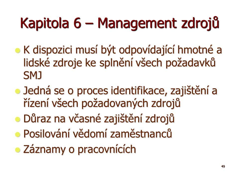 49 Kapitola 6 – Management zdrojů K dispozici musí být odpovídající hmotné a lidské zdroje ke splnění všech požadavků SMJ K dispozici musí být odpovídající hmotné a lidské zdroje ke splnění všech požadavků SMJ Jedná se o proces identifikace, zajištění a řízení všech požadovaných zdrojů Jedná se o proces identifikace, zajištění a řízení všech požadovaných zdrojů Důraz na včasné zajištění zdrojů Důraz na včasné zajištění zdrojů Posilování vědomí zaměstnanců Posilování vědomí zaměstnanců Záznamy o pracovnících Záznamy o pracovnících