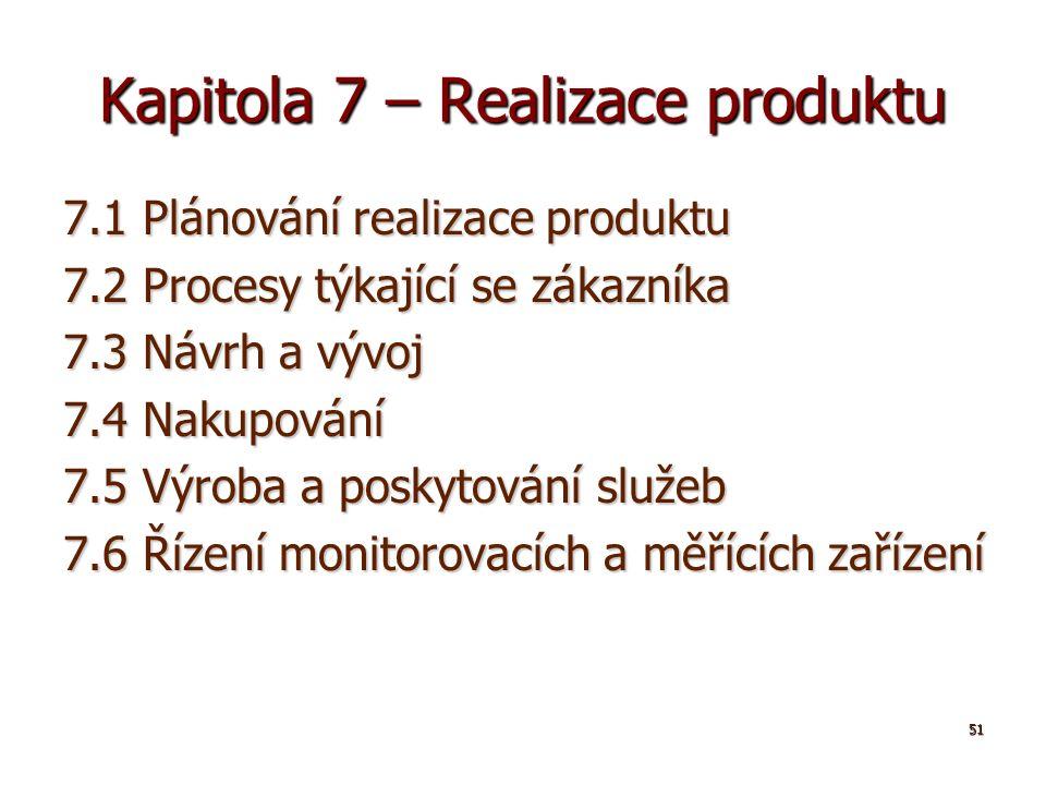 51 Kapitola 7 – Realizace produktu 7.1 Plánování realizace produktu 7.2 Procesy týkající se zákazníka 7.3 Návrh a vývoj 7.4 Nakupování 7.5 Výroba a poskytování služeb 7.6 Řízení monitorovacích a měřících zařízení