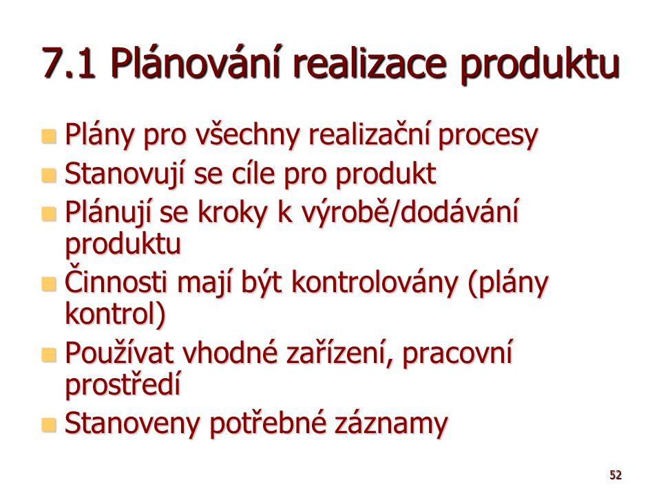 52 7.1 Plánování realizace produktu Plány pro všechny realizační procesy Plány pro všechny realizační procesy Stanovují se cíle pro produkt Stanovují se cíle pro produkt Plánují se kroky k výrobě/dodávání produktu Plánují se kroky k výrobě/dodávání produktu Činnosti mají být kontrolovány (plány kontrol) Činnosti mají být kontrolovány (plány kontrol) Používat vhodné zařízení, pracovní prostředí Používat vhodné zařízení, pracovní prostředí Stanoveny potřebné záznamy Stanoveny potřebné záznamy