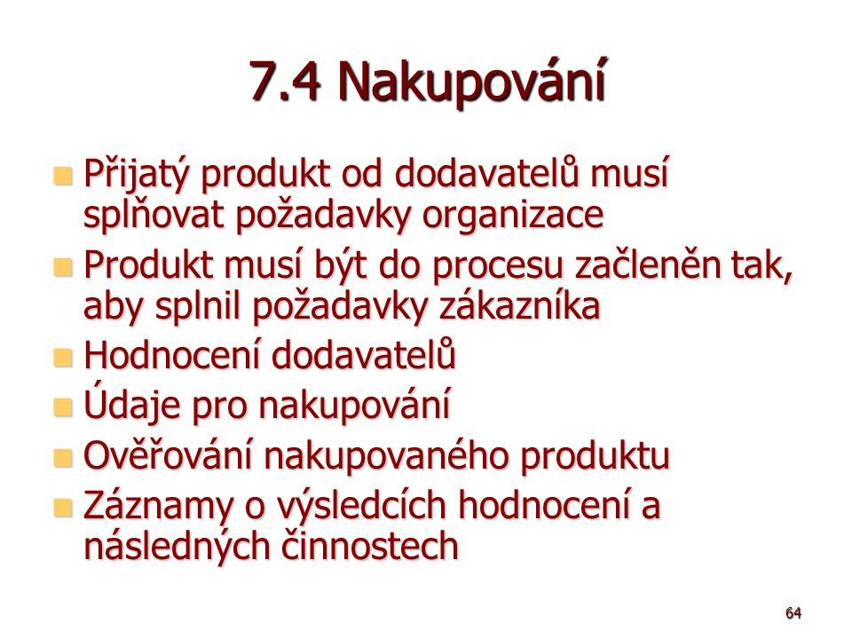 64 7.4 Nakupování Přijatý produkt od dodavatelů musí splňovat požadavky organizace Přijatý produkt od dodavatelů musí splňovat požadavky organizace Produkt musí být do procesu začleněn tak, aby splnil požadavky zákazníka Produkt musí být do procesu začleněn tak, aby splnil požadavky zákazníka Hodnocení dodavatelů Hodnocení dodavatelů Údaje pro nakupování Údaje pro nakupování Ověřování nakupovaného produktu Ověřování nakupovaného produktu Záznamy o výsledcích hodnocení a následných činnostech Záznamy o výsledcích hodnocení a následných činnostech