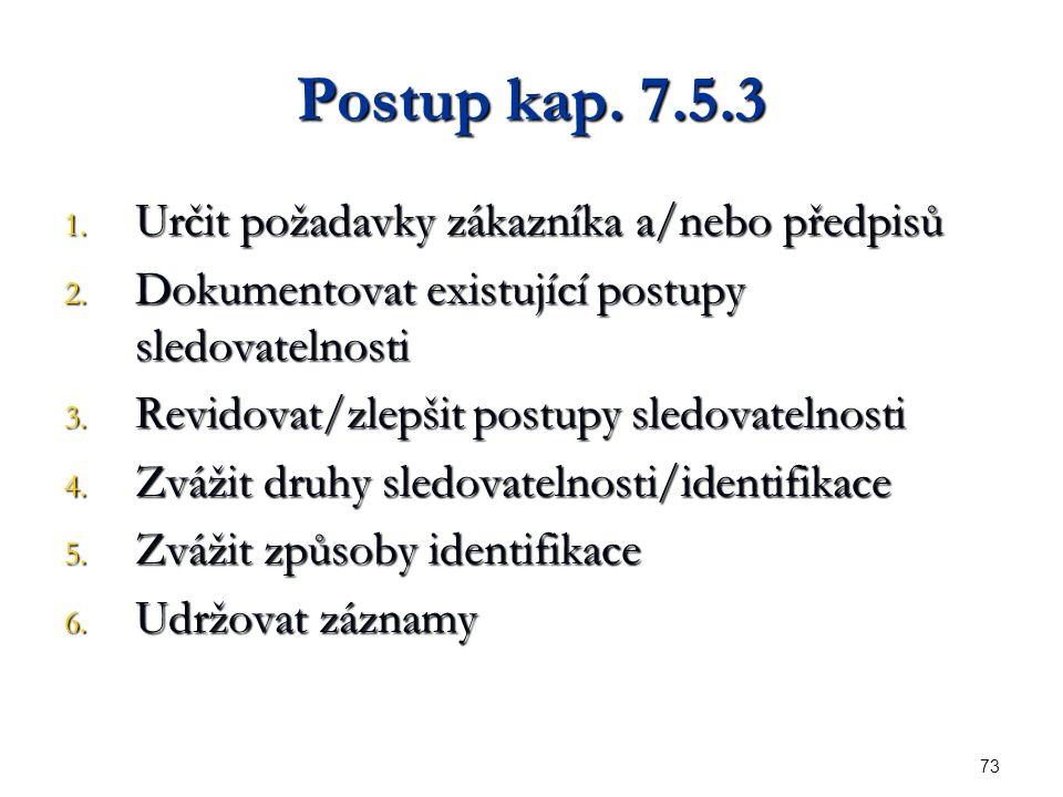 73 Postup kap. 7.5.3 1. Určit požadavky zákazníka a/nebo předpisů 2.