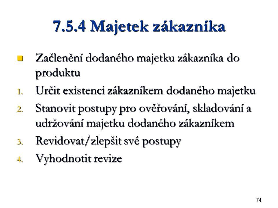 74 7.5.4 Majetek zákazníka Začlenění dodaného majetku zákazníka do produktu Začlenění dodaného majetku zákazníka do produktu 1.