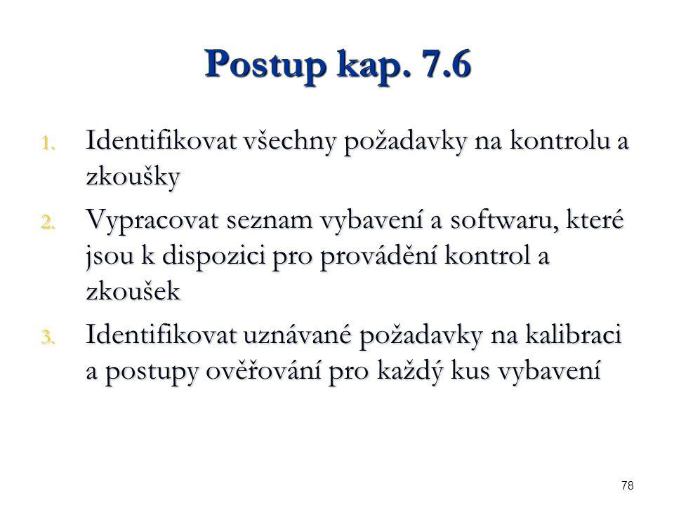 78 Postup kap. 7.6 1. Identifikovat všechny požadavky na kontrolu a zkoušky 2.