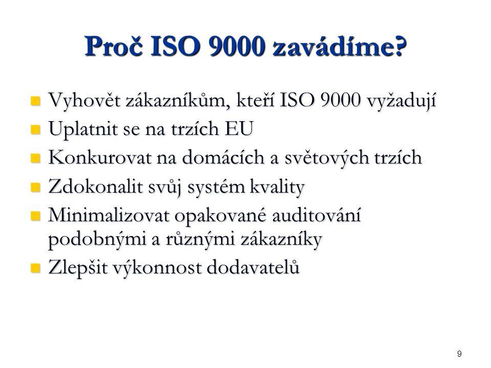 9 Proč ISO 9000 zavádíme.