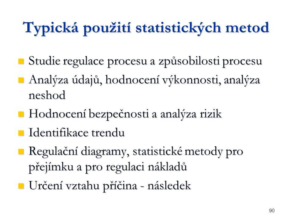 90 Typická použití statistických metod Studie regulace procesu a způsobilosti procesu Studie regulace procesu a způsobilosti procesu Analýza údajů, hodnocení výkonnosti, analýza neshod Analýza údajů, hodnocení výkonnosti, analýza neshod Hodnocení bezpečnosti a analýza rizik Hodnocení bezpečnosti a analýza rizik Identifikace trendu Identifikace trendu Regulační diagramy, statistické metody pro přejímku a pro regulaci nákladů Regulační diagramy, statistické metody pro přejímku a pro regulaci nákladů Určení vztahu příčina - následek Určení vztahu příčina - následek