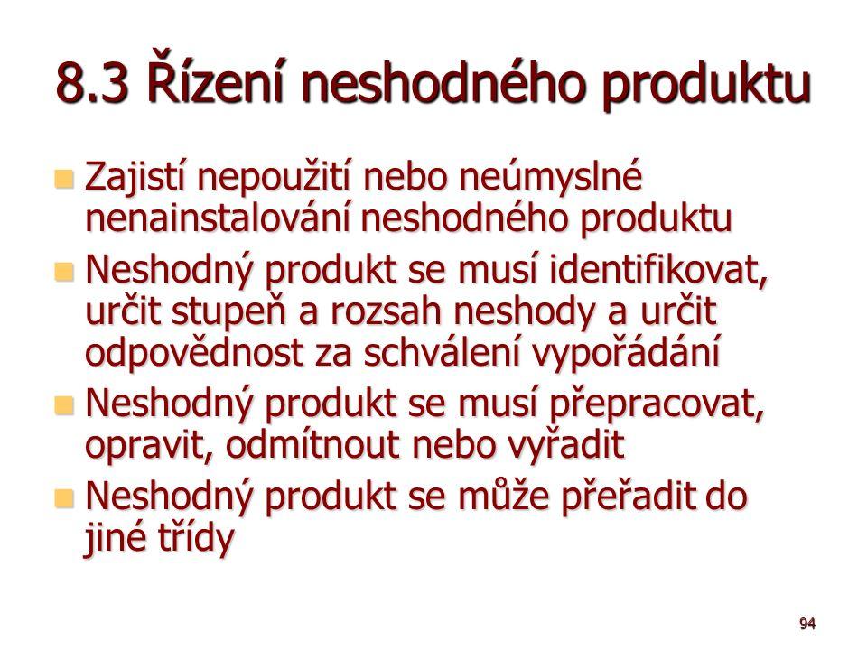 94 8.3 Řízení neshodného produktu Zajistí nepoužití nebo neúmyslné nenainstalování neshodného produktu Zajistí nepoužití nebo neúmyslné nenainstalování neshodného produktu Neshodný produkt se musí identifikovat, určit stupeň a rozsah neshody a určit odpovědnost za schválení vypořádání Neshodný produkt se musí identifikovat, určit stupeň a rozsah neshody a určit odpovědnost za schválení vypořádání Neshodný produkt se musí přepracovat, opravit, odmítnout nebo vyřadit Neshodný produkt se musí přepracovat, opravit, odmítnout nebo vyřadit Neshodný produkt se může přeřadit do jiné třídy Neshodný produkt se může přeřadit do jiné třídy