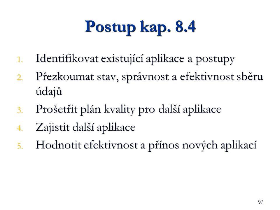 97 Postup kap. 8.4 1. Identifikovat existující aplikace a postupy 2.