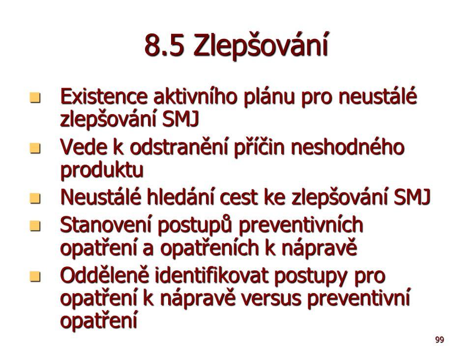 99 8.5 Zlepšování Existence aktivního plánu pro neustálé zlepšování SMJ Existence aktivního plánu pro neustálé zlepšování SMJ Vede k odstranění příčin neshodného produktu Vede k odstranění příčin neshodného produktu Neustálé hledání cest ke zlepšování SMJ Neustálé hledání cest ke zlepšování SMJ Stanovení postupů preventivních opatření a opatřeních k nápravě Stanovení postupů preventivních opatření a opatřeních k nápravě Odděleně identifikovat postupy pro opatření k nápravě versus preventivní opatření Odděleně identifikovat postupy pro opatření k nápravě versus preventivní opatření