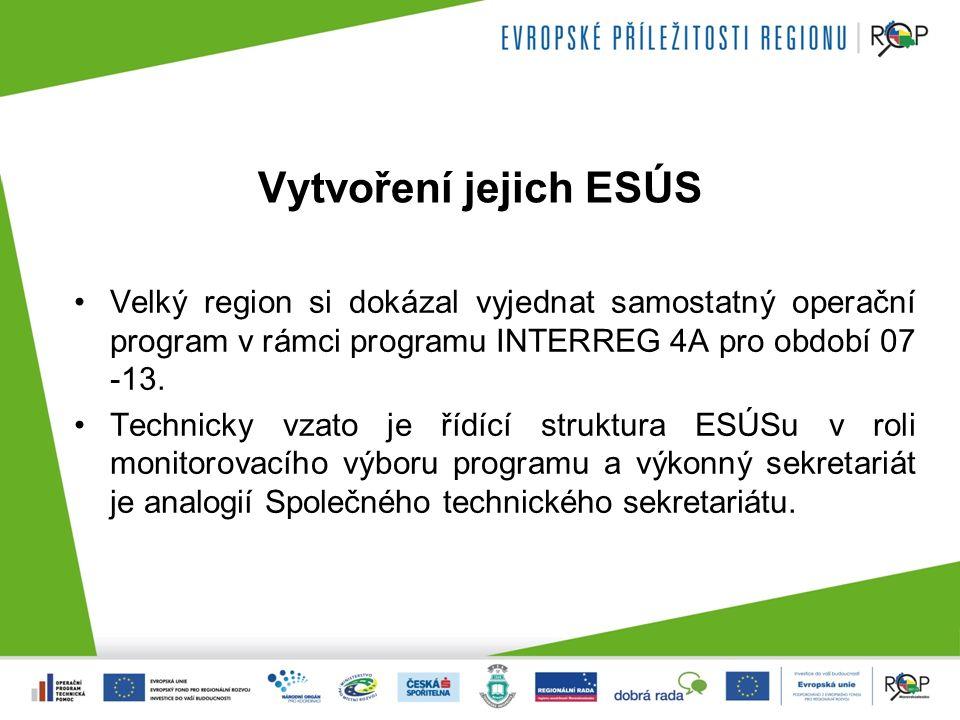 Vytvoření jejich ESÚS Velký region si dokázal vyjednat samostatný operační program v rámci programu INTERREG 4A pro období 07 -13.