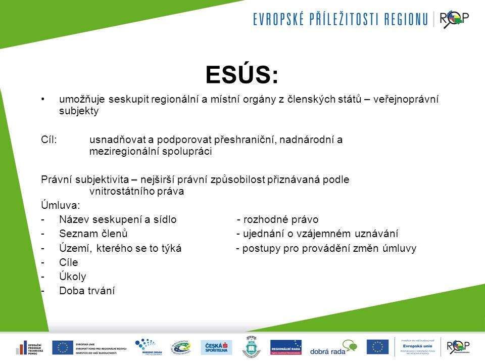 ESÚS: umožňuje seskupit regionální a místní orgány z členských států – veřejnoprávní subjekty Cíl: usnadňovat a podporovat přeshraniční, nadnárodní a meziregionální spolupráci Právní subjektivita – nejširší právní způsobilost přiznávaná podle vnitrostátního práva Úmluva: -Název seskupení a sídlo - rozhodné právo -Seznam členů - ujednání o vzájemném uznávání -Území, kterého se to týká - postupy pro provádění změn úmluvy -Cíle -Úkoly -Doba trvání