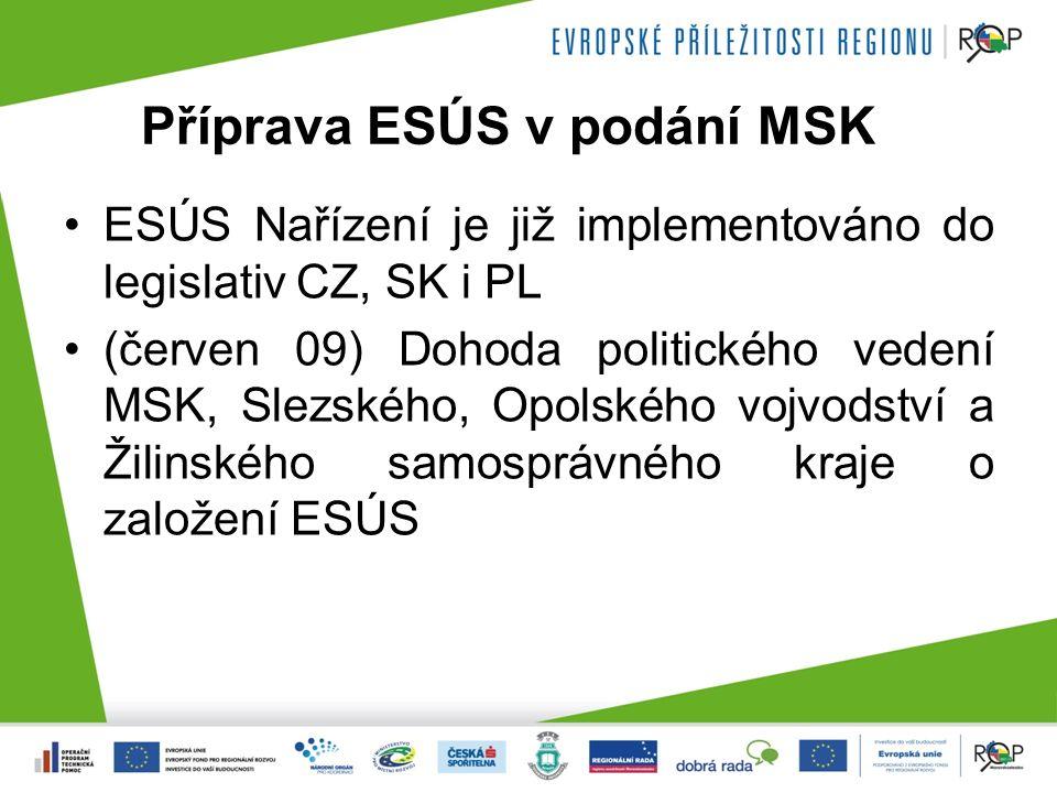 Příprava ESÚS v podání MSK ESÚS Nařízení je již implementováno do legislativ CZ, SK i PL (červen 09) Dohoda politického vedení MSK, Slezského, Opolského vojvodství a Žilinského samosprávného kraje o založení ESÚS