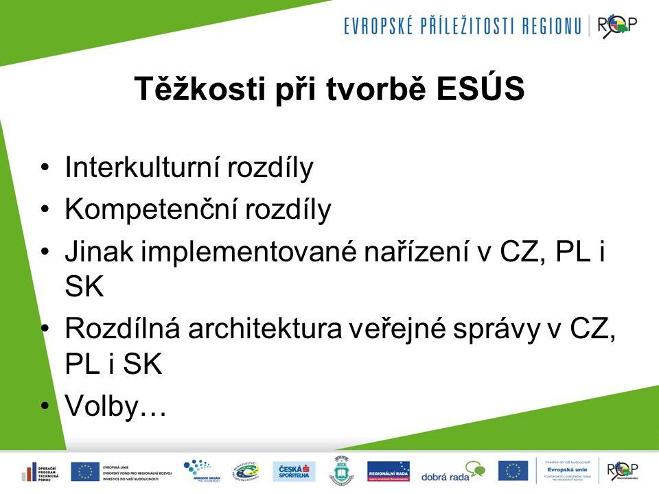 Těžkosti při tvorbě ESÚS Interkulturní rozdíly Kompetenční rozdíly Jinak implementované nařízení v CZ, PL i SK Rozdílná architektura veřejné správy v CZ, PL i SK Volby…