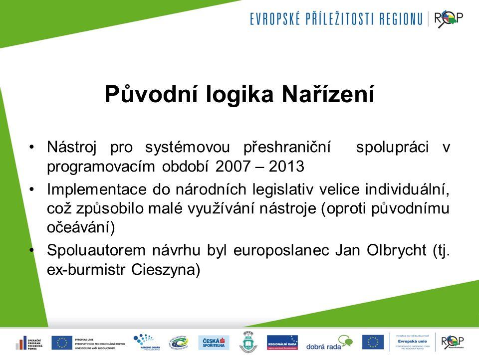 Původní logika Nařízení Nástroj pro systémovou přeshraniční spolupráci v programovacím období 2007 – 2013 Implementace do národních legislativ velice individuální, což způsobilo malé využívání nástroje (oproti původnímu očeávání) Spoluautorem návrhu byl europoslanec Jan Olbrycht (tj.