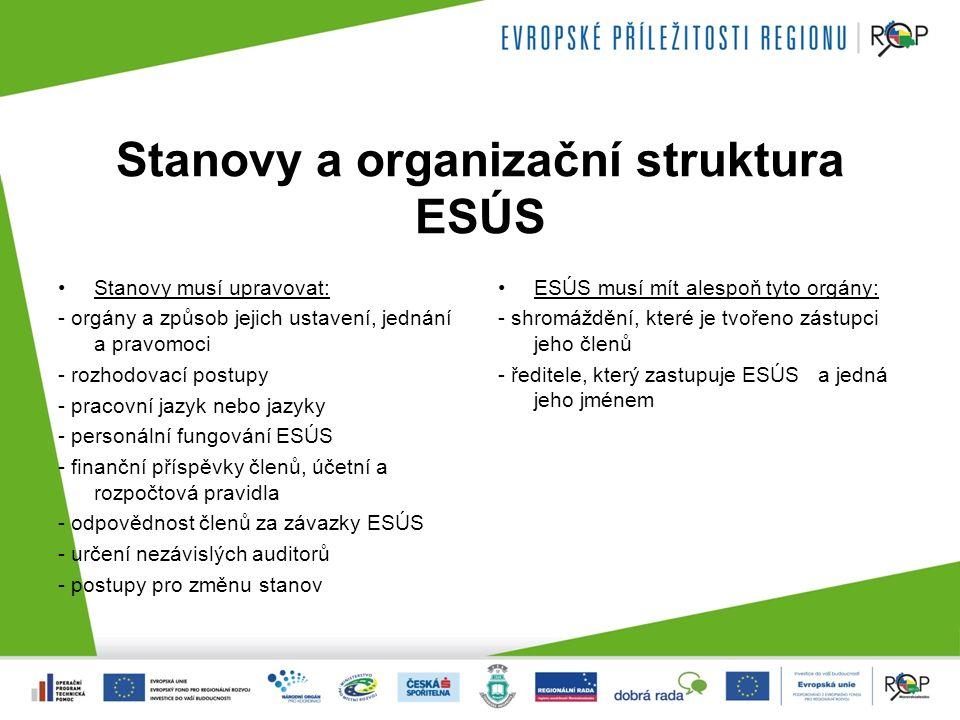 Stanovy a organizační struktura ESÚS Stanovy musí upravovat: - orgány a způsob jejich ustavení, jednání a pravomoci - rozhodovací postupy - pracovní jazyk nebo jazyky - personální fungování ESÚS - finanční příspěvky členů, účetní a rozpočtová pravidla - odpovědnost členů za závazky ESÚS - určení nezávislých auditorů - postupy pro změnu stanov ESÚS musí mít alespoň tyto orgány: - shromáždění, které je tvořeno zástupci jeho členů - ředitele, který zastupuje ESÚS a jedná jeho jménem