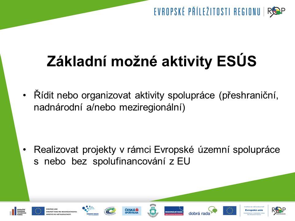 Základní možné aktivity ESÚS Řídit nebo organizovat aktivity spolupráce (přeshraniční, nadnárodní a/nebo meziregionální) Realizovat projekty v rámci Evropské územní spolupráce s nebo bez spolufinancování z EU