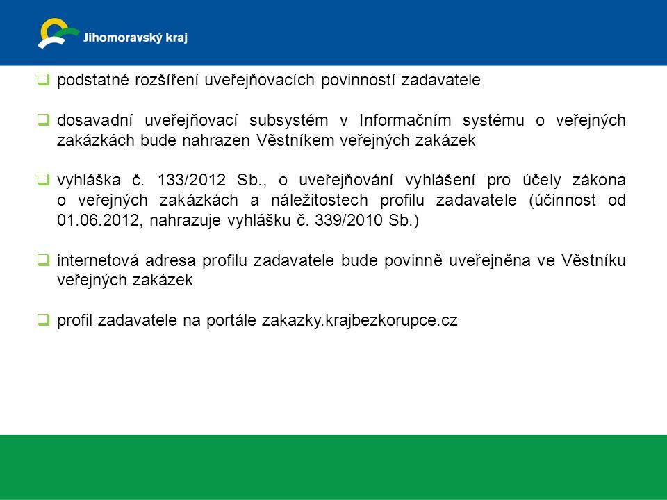  podstatné rozšíření uveřejňovacích povinností zadavatele  dosavadní uveřejňovací subsystém v Informačním systému o veřejných zakázkách bude nahrazen Věstníkem veřejných zakázek  vyhláška č.