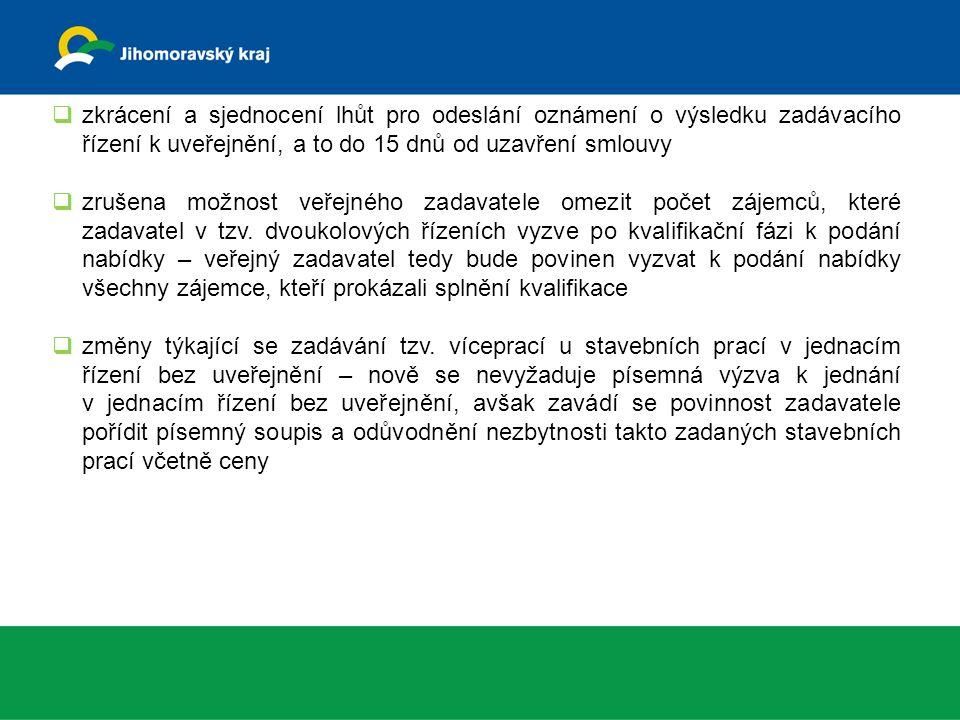  zkrácení a sjednocení lhůt pro odeslání oznámení o výsledku zadávacího řízení k uveřejnění, a to do 15 dnů od uzavření smlouvy  zrušena možnost veřejného zadavatele omezit počet zájemců, které zadavatel v tzv.