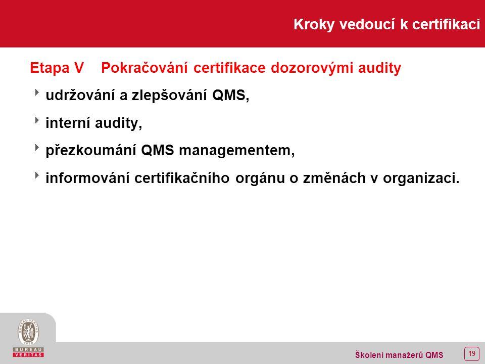 18 Školení manažerů QMS Kroky vedoucí k certifikaci Etapa IVCertifikační audit  provedení auditu, potvrzení shody,  identifikace neshod,  reakce na neshody, realizace opatření k nápravě,  prověrka účinnosti opatření realizovaných pro vypořádání neshod,  vystavení certifikátu.