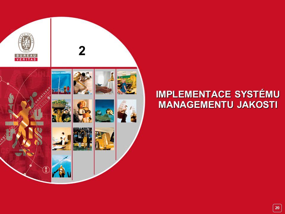 19 Školení manažerů QMS Kroky vedoucí k certifikaci Etapa VPokračování certifikace dozorovými audity  udržování a zlepšování QMS,  interní audity,  přezkoumání QMS managementem,  informování certifikačního orgánu o změnách v organizaci.