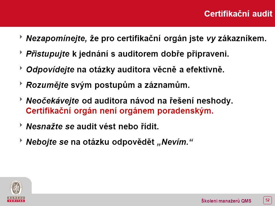 51 Školení manažerů QMS Příprava na certifikaci Úloha konzultanta  Konzultant vám pomůže pochopit, jak ISO 9000 uplatnit.