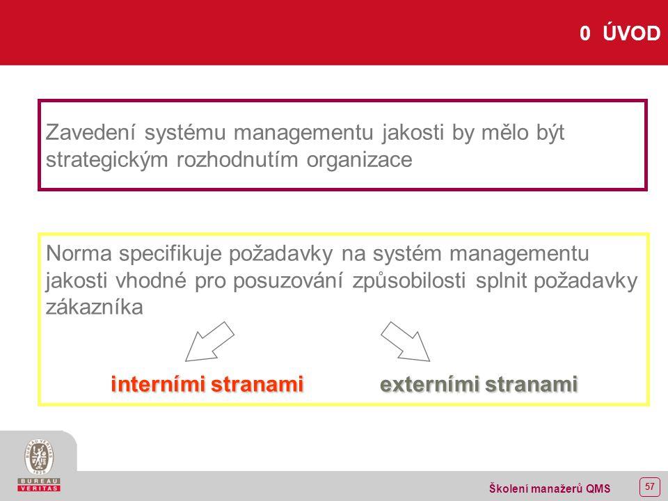 56 Školení manažerů QMS Název normy ISO 9001:2000 managementu ISO 9001:2000 Systémy managementu jakosti - Požadavky ISO 9001:1994 zabezpečování ISO 9001:1994 Systémy jakosti - Model zabezpečování jakosti při návrhu, vývoji, výrobě, instalaci a servisu