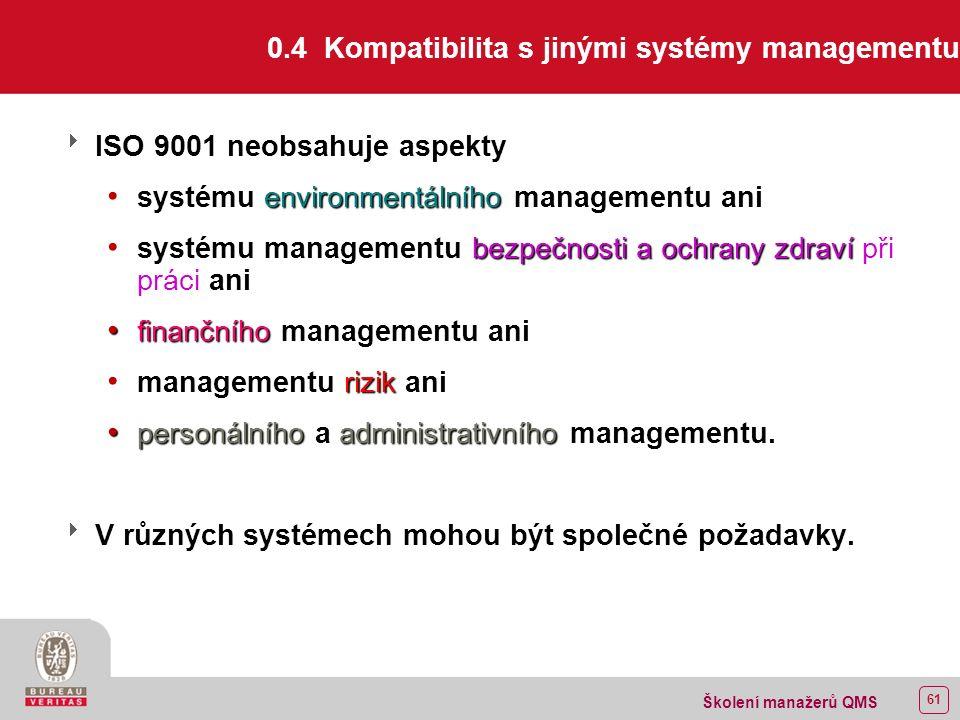 60 Školení manažerů QMS 0.3 Vztah k normě ISO 9004  Obě normy jsou navrženy tak, aby se vzájemně doplňovaly, mohou se však používat i nezávisle.