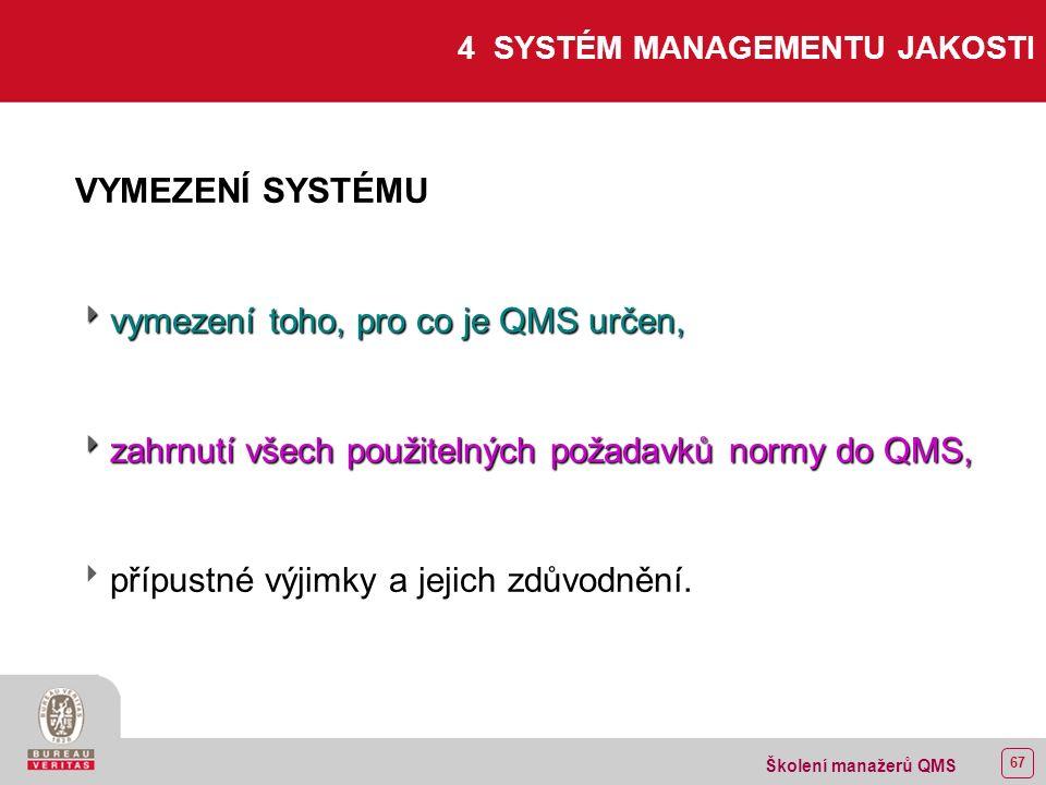 66 Školení manažerů QMS 3 TERMÍNY A DEFINICE  Dodavatel subdodavatel  Dodavatel - subdodavatel  Organizace dodavatel  Organizace - dodavatel  Zákazník Norma odkazuje na ISO 9000:2000