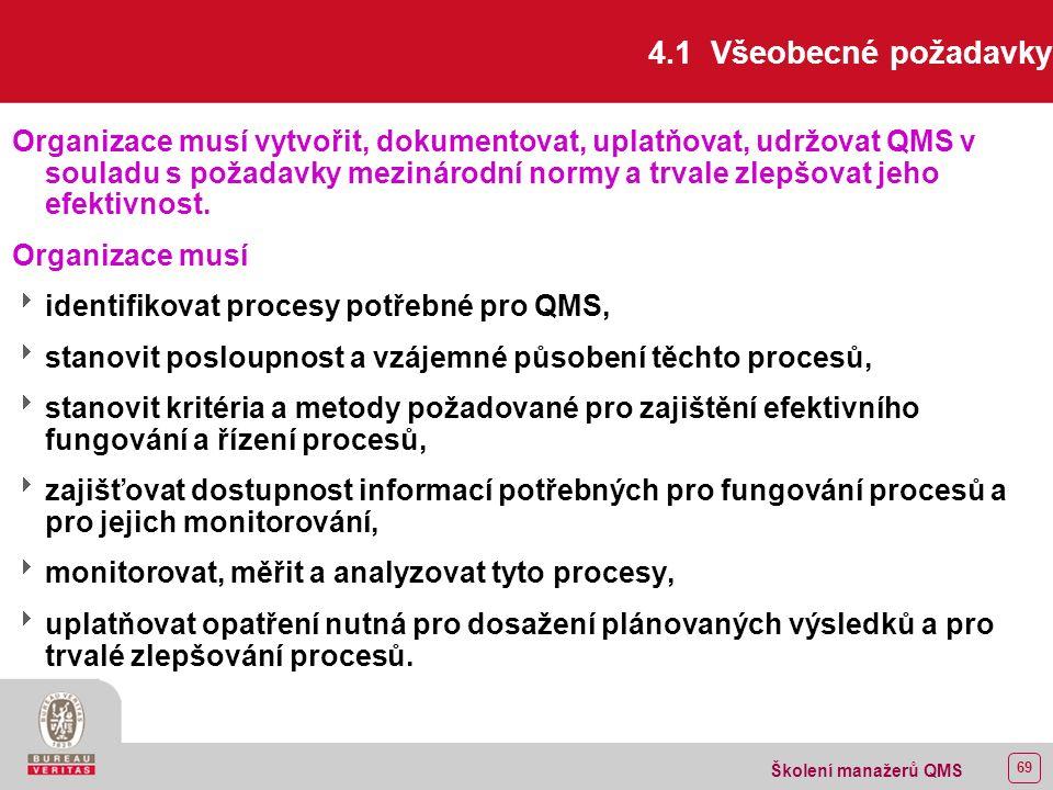 68 Školení manažerů QMS 4 SYSTÉM MANAGEMENTU JAKOSTI 4.1 Všeobecné požadavky 4.2 Požadavky na dokumentaci 4.2.1 Všeobecně 4.2.2 Příručka jakosti 4.2.3 Řízení dokumentů 4.2.4 Řízení záznamů