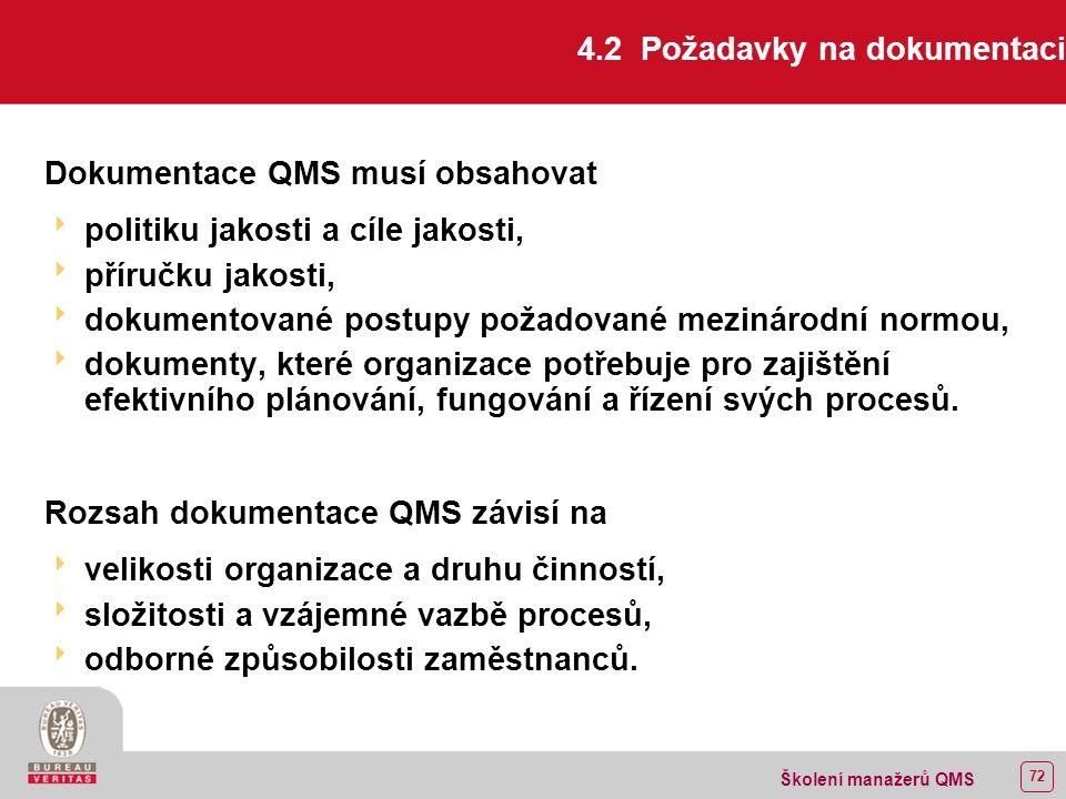 71 Školení manažerů QMS 4.1 Všeobecné požadavky Rozdělení procesů:  hlavní,  řídicí,  pomocné.