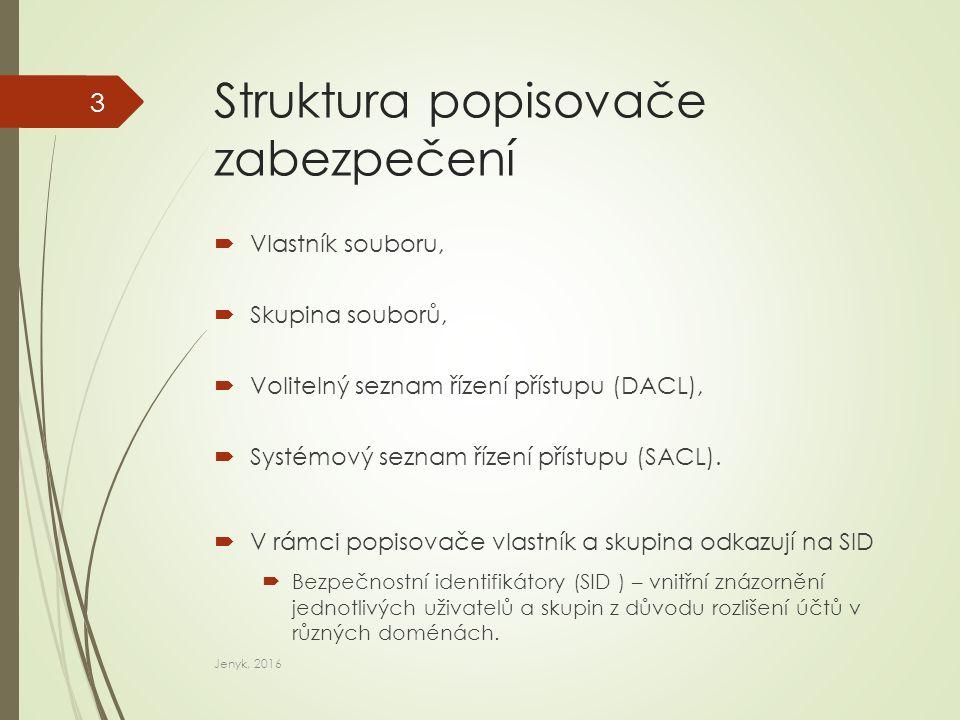 ACE, ACL  ACE - Seznam položek řízení přístupu (také položka oprávnění) – jednotlivé přiřazení oprávnění uživateli nebo skupině v prostředí systému Windows.