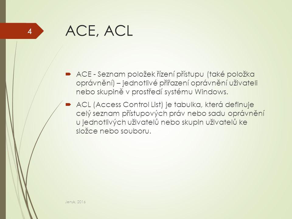 Bezpečnostní popisovače DACL  DACL – volitelný seznam řízení přístupů, který určuje přístupová práva, umožňující povolit nebo zablokovat konkrétní uživatele nebo skupiny.