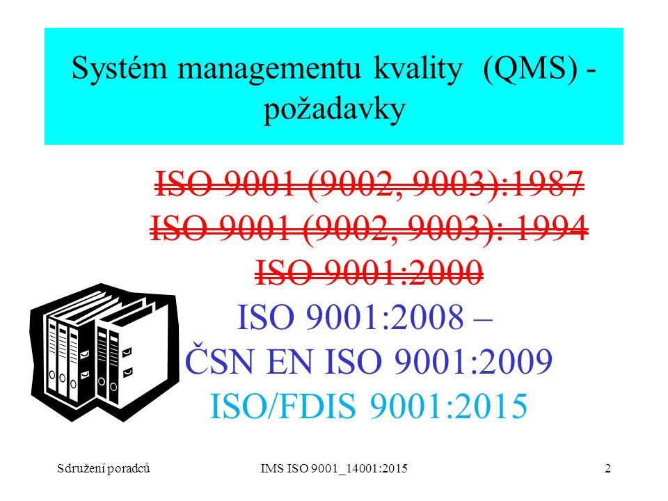 Sdružení poradcůIMS ISO 9001_14001:20152 Systém managementu kvality (QMS) - požadavky ISO 9001 (9002, 9003):1987 ISO 9001 (9002, 9003): 1994 ISO 9001: