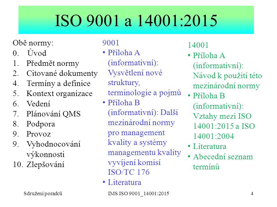Sdružení poradcůIMS ISO 9001_14001:20154 ISO 9001 a 14001:2015 Obě normy: 0. Úvod 1.Předmět normy 2.Citované dokumenty 4.Termíny a definice 5.Kontext
