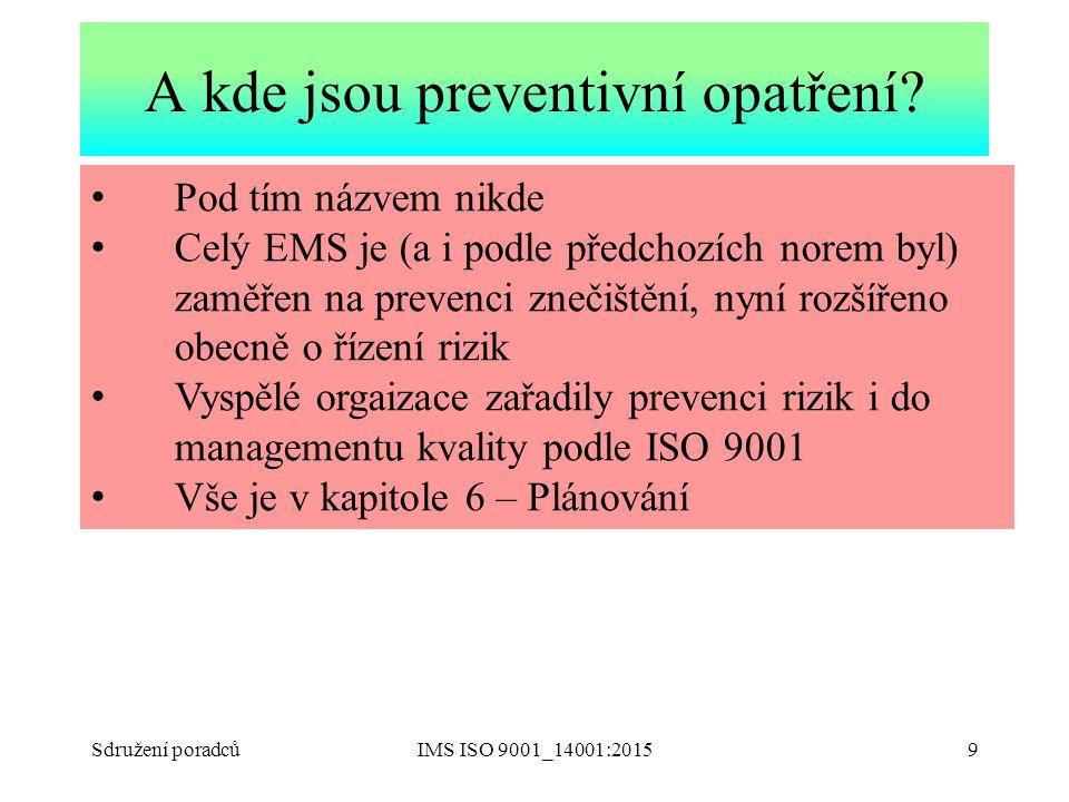 Sdružení poradcůIMS ISO 9001_14001:20159 Pod tím názvem nikde Celý EMS je (a i podle předchozích norem byl) zaměřen na prevenci znečištění, nyní rozší