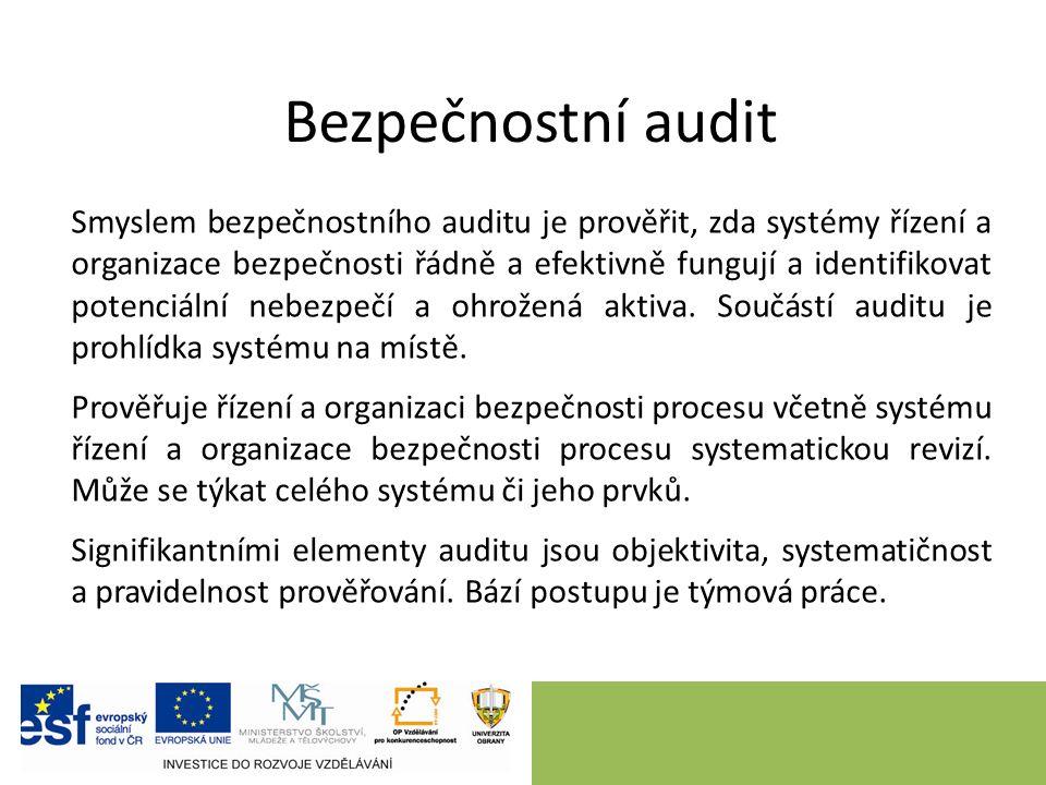 Bezpečnostní audit Smyslem bezpečnostního auditu je prověřit, zda systémy řízení a organizace bezpečnosti řádně a efektivně fungují a identifikovat potenciální nebezpečí a ohrožená aktiva.
