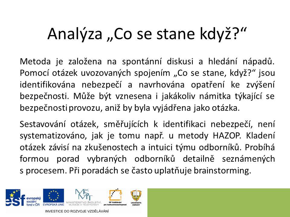 """Analýza """"Co se stane když? Metoda je založena na spontánní diskusi a hledání nápadů."""