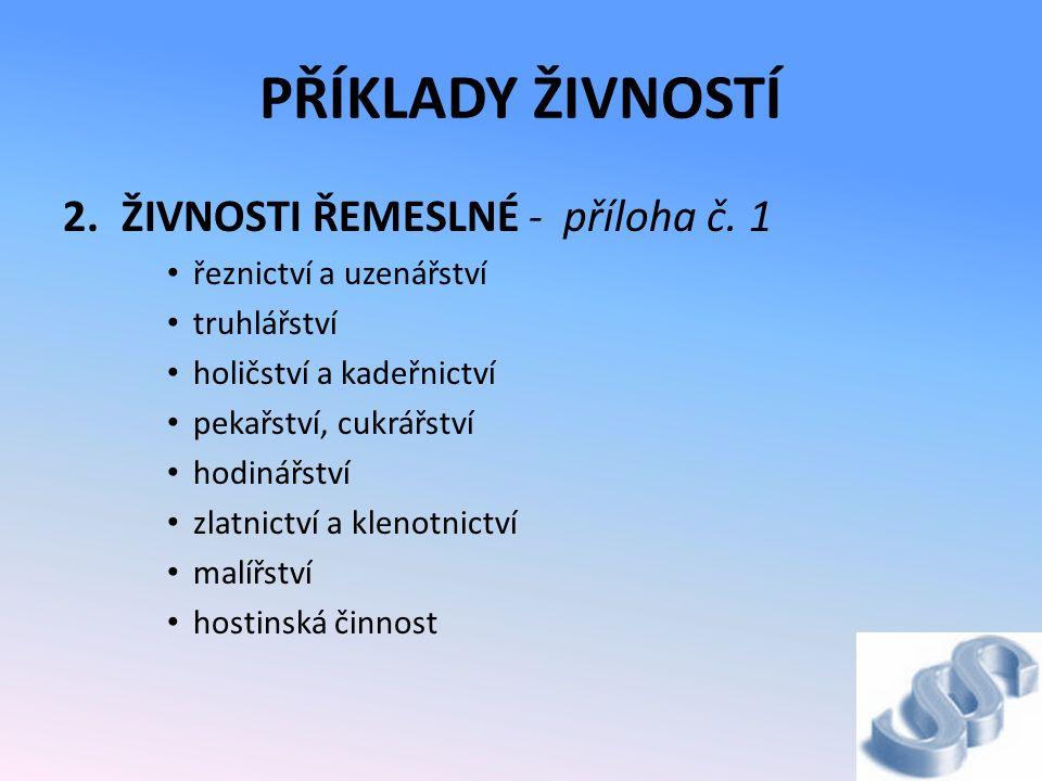 PŘÍKLADY ŽIVNOSTÍ 2.ŽIVNOSTI ŘEMESLNÉ - příloha č.