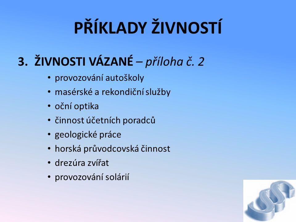 PŘÍKLADY ŽIVNOSTÍ 3.ŽIVNOSTI VÁZANÉ – příloha č.