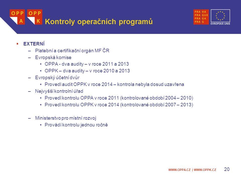 WWW.OPPA.CZ | WWW.OPPK.CZ Kontroly operačních programů  EXTERNÍ –Platební a certifikační orgán MF ČR –Evropská komise OPPA - dva audity – v roce 2011 a 2013 OPPK – dva audity – v roce 2010 a 2013 –Evropský účetní dvůr Provedl audit OPPK v roce 2014 – kontrola nebyla dosud uzavřena –Nejvyšší kontrolní úřad Provedl kontrolu OPPA v roce 2011 (kontrolované období 2004 – 2010) Provedl kontrolu OPPK v roce 2014 (kontrolované období 2007 – 2013) –Ministerstvo pro místní rozvoj Provádí kontrolu jednou ročně 20