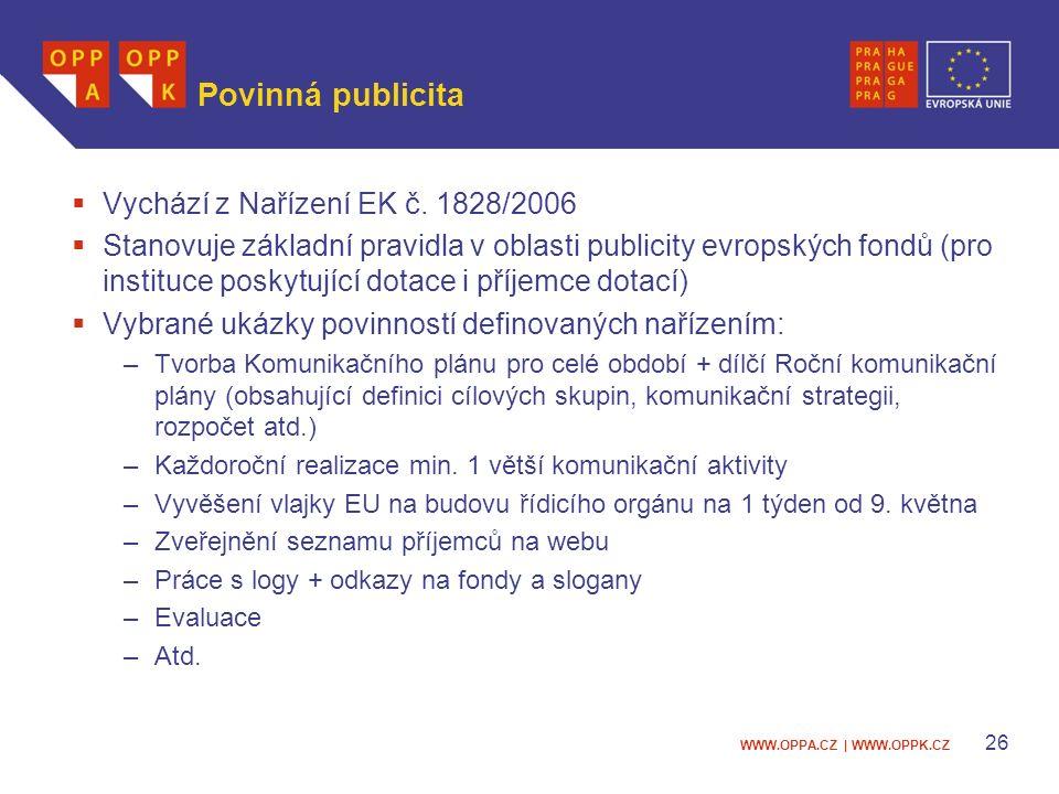 WWW.OPPA.CZ | WWW.OPPK.CZ 26 Povinná publicita  Vychází z Nařízení EK č.