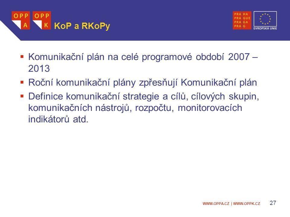WWW.OPPA.CZ | WWW.OPPK.CZ 27 KoP a RKoPy  Komunikační plán na celé programové období 2007 – 2013  Roční komunikační plány zpřesňují Komunikační plán  Definice komunikační strategie a cílů, cílových skupin, komunikačních nástrojů, rozpočtu, monitorovacích indikátorů atd.