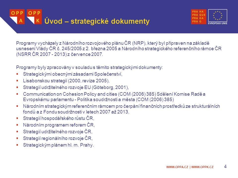 WWW.OPPA.CZ | WWW.OPPK.CZ Úvod – strategické dokumenty Programy vycházely z Národního rozvojového plánu ČR (NRP), který byl připraven na základě usnesení Vlády ČR č.